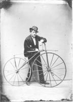 """Dapper Gent with Velocipede or """"Boneshaker"""" - Circa 1869"""