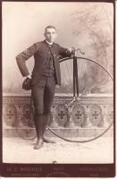 "C.G. ""Nele"" Ross with Rudge Racer - Captain Rutland Bicycle Club, Rutland Vt. 1886"