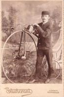 Gent with Springfield Roadster High Wheel Safety - Circa 1888