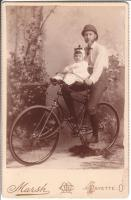 "Gent and Child with Victor Model ""C"" Cushion Tire Safety - Circa 1892"